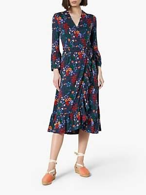 LK Bennett L.K.Bennett Vika Jersey Floral Wrap Dress, Blue/Multi
