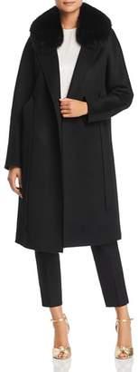 Maximilian Furs Fox Fur-Collar Belted Wool Coat - 100% Exclusive
