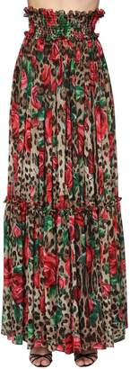 Dolce & Gabbana Leopard & Rose Chiffon Long Skirt