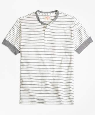 Brooks Brothers Feeder-Stripe Short-Sleeve Cotton Henley