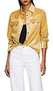 THE GIGI Women's Carlota Cotton-Blend Corduroy Western Blouse - Gold