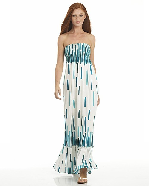 Aqua Printed Maxi Shirred Tube Dress: A Bloomingdale's Exclusive
