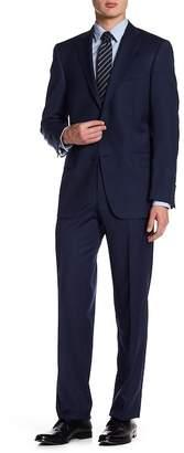 Hart Schaffner Marx Dark Blue Subtle Check Print Two Button Notch Lapel Wool Blend New York Fit Suit