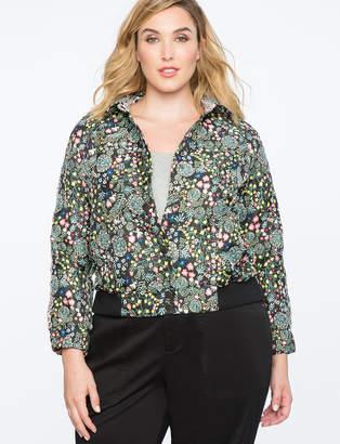 ELOQUII Floral Brocade Bomber Jacket