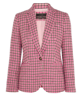 J.Crew - Campbell Houndstooth Wool-blend Blazer - Pink $248 thestylecure.com