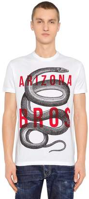 DSQUARED2 Snake Printed Cotton Jersey T-Shirt