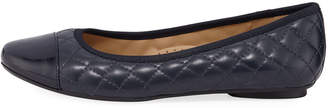 Neiman Marcus Sedy Quilted Leather Ballet Flats, Navy