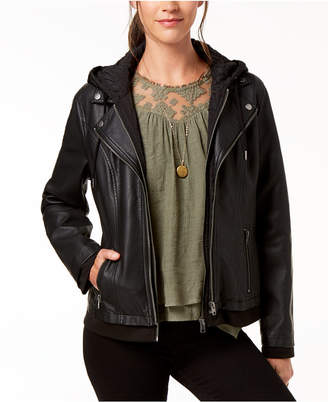 Style&Co. Style & Co Petite Hooded Faux-Leather Moto Jacket, Created for Macy's