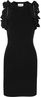 3.1 Phillip Lim - Zip-detailed Ruffled Stretch-cotton Mini Dress - Black $495 thestylecure.com