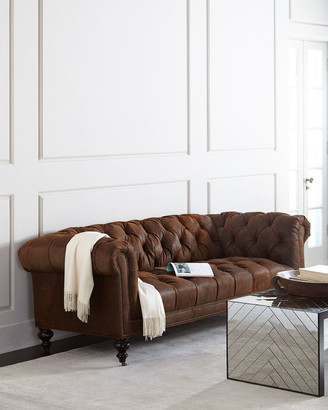 """Old Hickory Tannery Morgan Rustic-Suede Chesterfield Sofa 86"""""""
