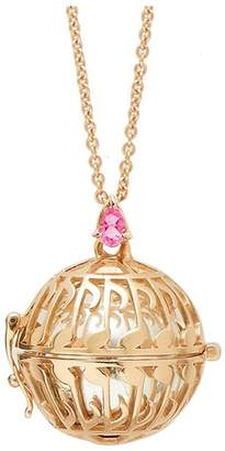 Goyal Paris Necklace Future Moms Note Silver Plated Yellow Gold And Pink Tourmaline