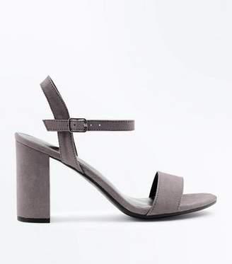 New Look Dark Grey Suedette Block Heel Sandals