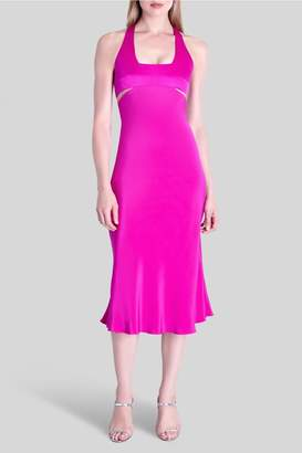 Cushnie Fuchsia Kiera Sleeveless Midi Flare Dress