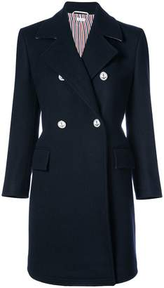 Thom Browne Double Breasted Chesterfield Overcoat In Navy Heavy Merino Melton