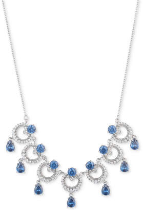 "Marchesa Silver-Tone Cubic Zirconia Link Statement Necklace, 16"" + 3"" extender"