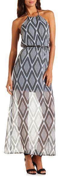 Charlotte Russe Belted Halter Maxi Dress