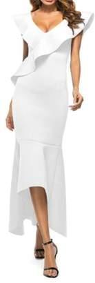 Wenko Joe JWK Womens Slim Fit High Low Irregular Mermaids Solid Color Long Dress