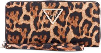 GUESS Lauri Boxed Animal-Print Zip-Around Wristlet
