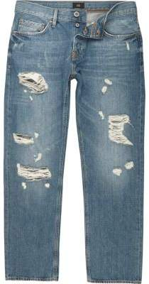 River Island Mens Mid blue loose distressed jeans