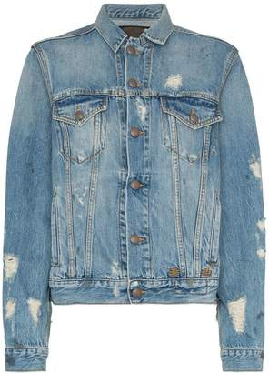R 13 distressed detail denim jacket