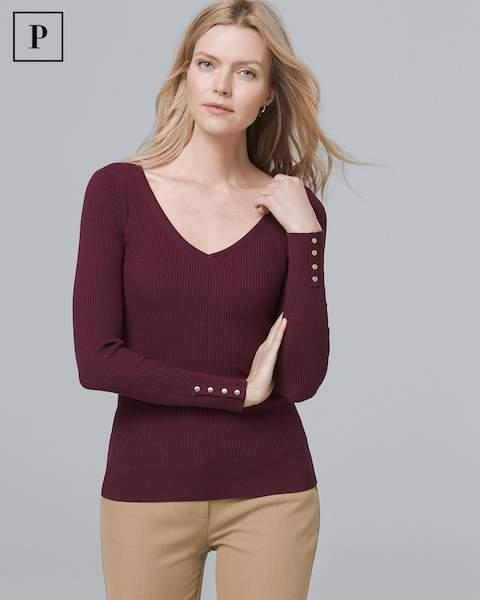 Whbm Petite Button-Detail V-Neck Sweater