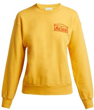 Aries Logo Embroidered Cotton Sweatshirt - Womens - Yellow