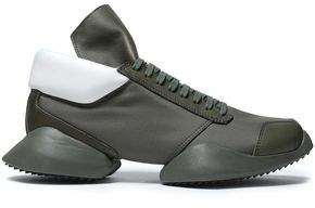 Rick Owens X Adidas Two-Tone Leather Canvas And Neoprene Sneakers