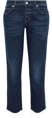 Amo Tomboy Cropped Distressed Mid-Rise Straight-Leg Jeans
