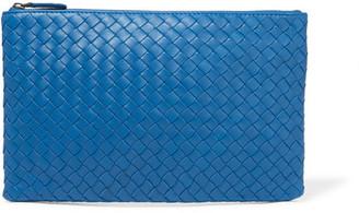 Bottega Veneta - Medium Intrecciato Leather Pouch - Blue $690 thestylecure.com