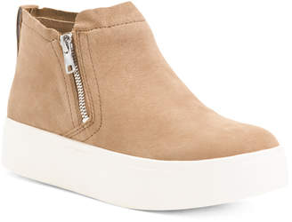 Leather Platform Hightop Comfort Sneakers