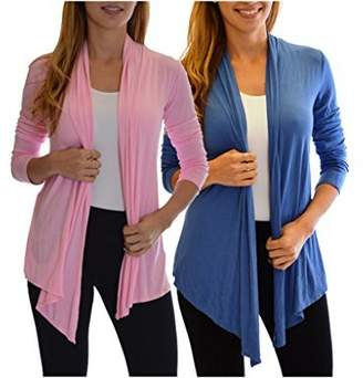 Fly London 2 Pack Golden Black Fashion Women's Away Open Front Basic Cardigan Pink Denim S