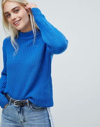 Pieces High Neck Ribbed Sweater