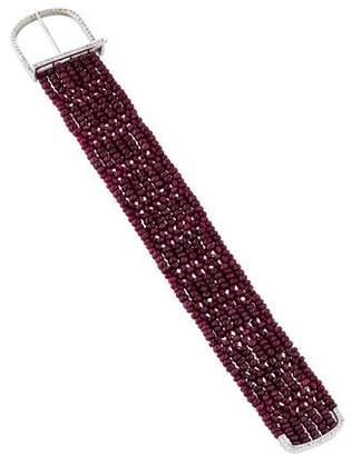 18K Ruby & Diamond Bead Bracelet