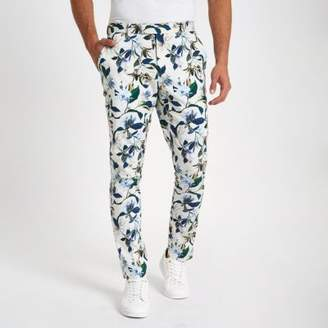 River Island White skinny fit floral suit pants