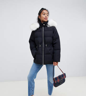 Asos DESIGN Petite puffer jacket with waist detail and faux fur hood