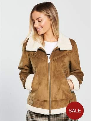 Vero Moda Petite Faux Shearling Jacket - Cream
