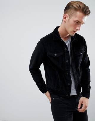 New Look cord western jacket in black