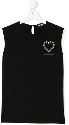DSQUARED2 studded heart tank top