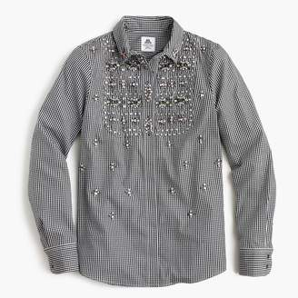 J.Crew Collection Thomas Mason® for J. Crew embellished gingham button-up shirt