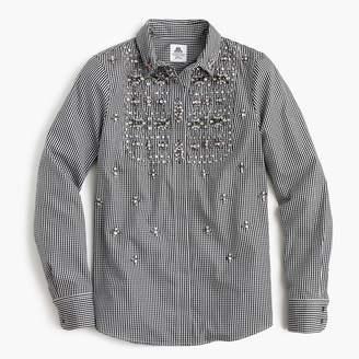 J.Crew Collection Thomas Masonu0026reg; for J. Crew embellished gingham button-up shirt