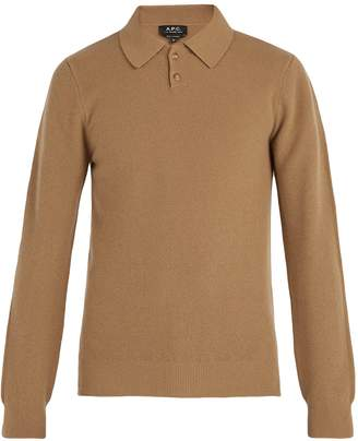 A.P.C. Guitry long-sleeved wool-blend polo shirt