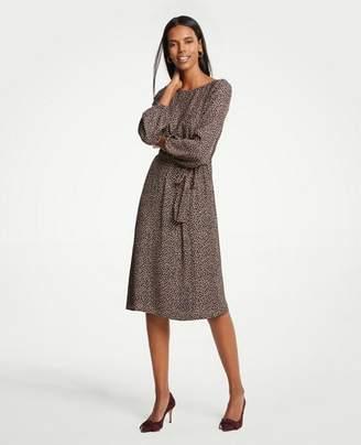 Ann Taylor Petite Geo Dot Tie Waist Dress