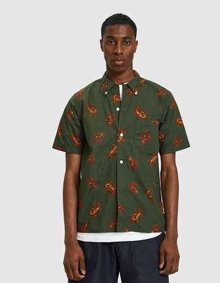Beams S/S Open Collar B.D. Dobby Print Paisley in Green