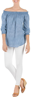 Mud Pie Chambray Off-Shoulder Top $53 thestylecure.com