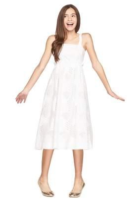 Milly Minis Cotton Eyelet Midi Jenny Combo Dress
