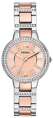 Fossil Virginia Three Hand Stainless Steel Watch Two Tone