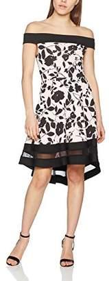 Quiz Women's Flock Print Bardot Contrast Panel Skater Party Dress