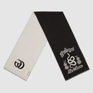 Gucci Wool snake jacquard scarf