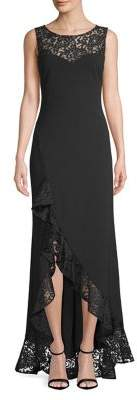 Betsy & Adam Ruffled Lace-Trimmed High-Low Gown