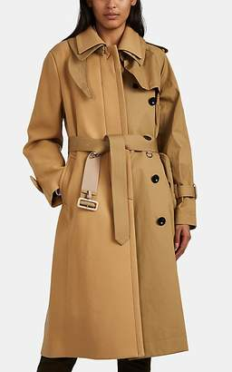 Sacai Women's Wool & Cotton Patchwork Trench Coat - Beige, Tan